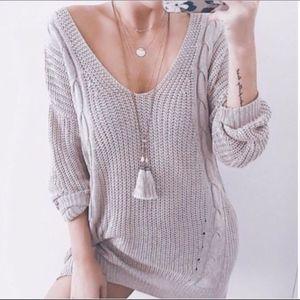 V neck cable Knit criss cross back Sweater - MAUVE